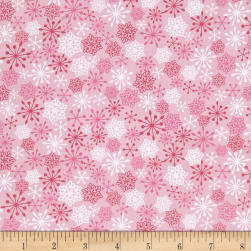 Frosty Flamingo Snow Flakes Pink Fabric