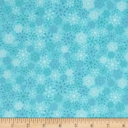Frosty Flamingo Snow Flakes Blue Fabric