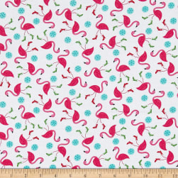 Frosty Flamingo Tossed Flamingos White Fabric