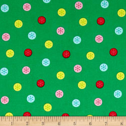Marcus Frosty Flamingo Deco Dots Green Fabric