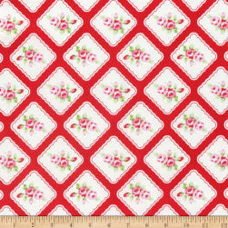 Tanya Whelan Rambling Rose Framed Resebuds Red Fabric