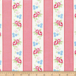 Tanya Whelan Rambling Rose Gingham Ticking Red Fabric