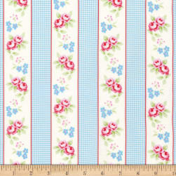 Tanya Whelan Rambling Rose Gingham Ticking Blue Fabric