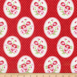 Tanya Whelan Rambling Rose Granny's Wallpaper Red Fabric