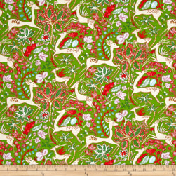 Dena Designs Winterland Reindeer Green Fabric