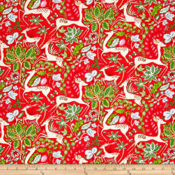 Dena Designs Winterland Reindeer Red Fabric