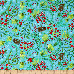 Dena Designs Winterland Snowberry Blue Fabric