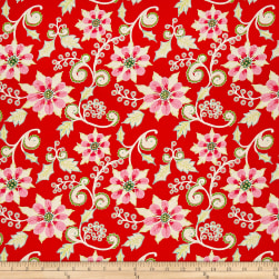 Dena Designs Winterland Poinsettia Red Fabric