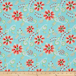 Dena Designs Winterland Poinsettia Blue Fabric