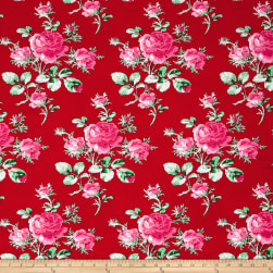 Verna Mosquera Peppermint Rose Cranberry Fabric