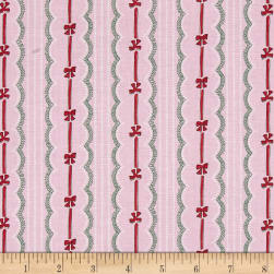 Verna Mosquera Peppermint Rose Ribbons & Bows Cranberry Fabric