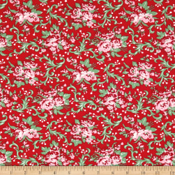 Verna Mosquera Peppermint Rose Holly Berry Cranberry Fabric
