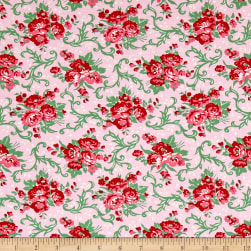 Verna Mosquera Peppermint Rose Holly Berry Peppermint Fabric