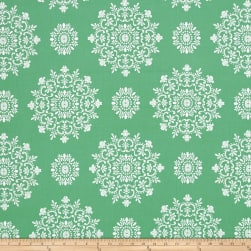 Verna Mosquera Peppermint Rose Snow Crystals Pine Fabric