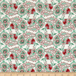 Verna Mosquera Peppermint Rose Paisley Path Dove Fabric