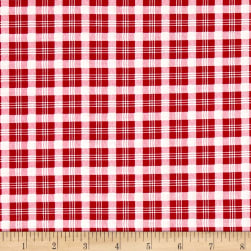 Verna Mosquera Peppermint Rose Christmas Plaid Cranberry Fabric