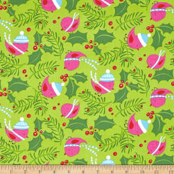 David Walker Merry Christmas Jolly Holly Bright Fabric