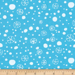 David Walker Merry Christmas Snowflakes Blue Fabric