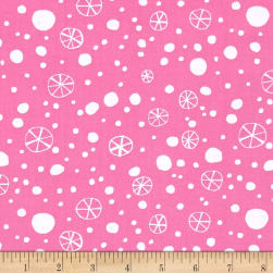 David Walker Merry Christmas Snowflakes Pink Fabric