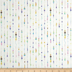 Mariposa Jeweled Stripe Ecru Fabric