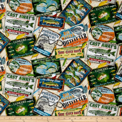Quilting Treasures So Many Fish, So Little Time Fishing Advertisements Cream