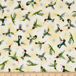Hummingbirds In Flight Pale Yellow