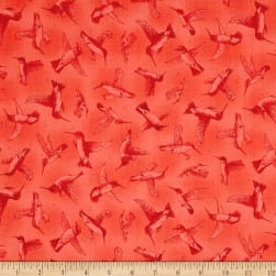 Hummingbirds Tonal Poppy Fabric