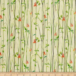 QT Fabrics Hummingbirds Reed Stripe Light Yellow Fabric
