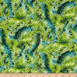 Hummingbirds Feathers Dark Green Fabric