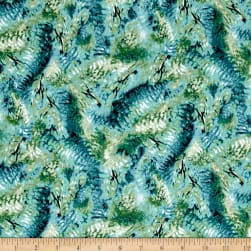 QT Fabrics Hummingbirds Feathers Dark Teal