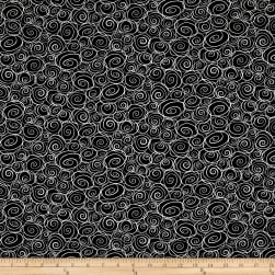 Not Your Garden Variety Swirls Black Fabric