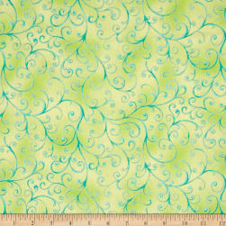 QT Fabrics Ariel Scroll Light Green Fabric