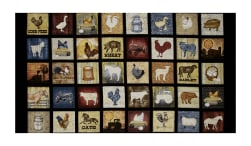 "Bountiful Farm Animals Small Patch 23.5"" Panel Black"