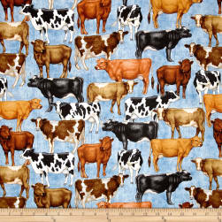 Bountiful Farm Animals Blue Fabric
