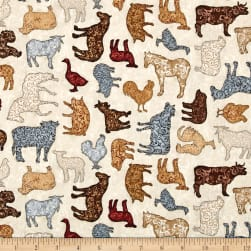 Bountiful Scrolled Farm Animals Med Natural Fabric
