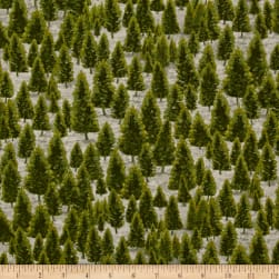 Mountain Elk Pine Trees Green Fabric