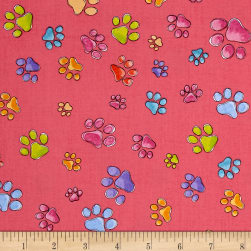 Loralie Designs Dog Gone Pawful Paws Pink Fabric