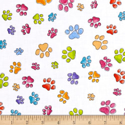 Loralie Designs Dog Gone Pawful Paws White Fabric