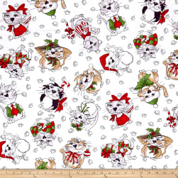 Loralie Designs Kitty Kitty Christmas Blizzard White Fabric