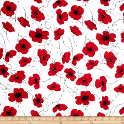Loralie Designs Lady In Red Poppies White Fabric