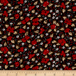 Corduroy Red Flowers on Black