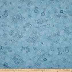 Maywood Studio From The Farm Toile Blue Fabric