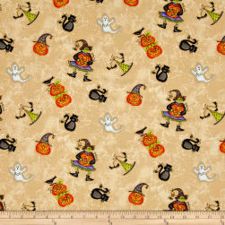 Maywood Studio Halloweenie Tossed Halloweenies Light Tan Fabric