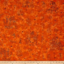 Maywood Studio Halloweenie Halloweenie Toile Orange Fabric