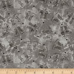 Maywood Studio Halloweenie Witchy Legs Gray Fabric