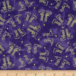 Maywood Studio Halloweenie Witchy Legs Purple Fabric