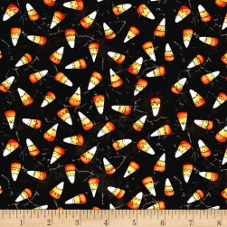 Maywood Studio Halloweenie Franken' Corn Charcoal Fabric
