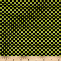 Maywood Studio Halloweenie Simple Checkerboard Black/Green Fabric