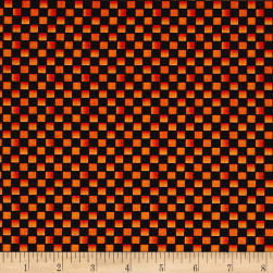 Maywood Studio Halloweenie Simple Checkerboard Black/Orange Fabric
