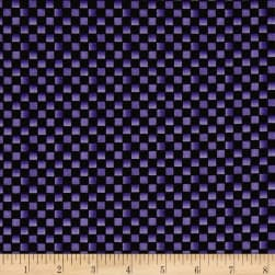 Maywood Studio Halloweenie Simple Checkerboard Black/Purple Fabric